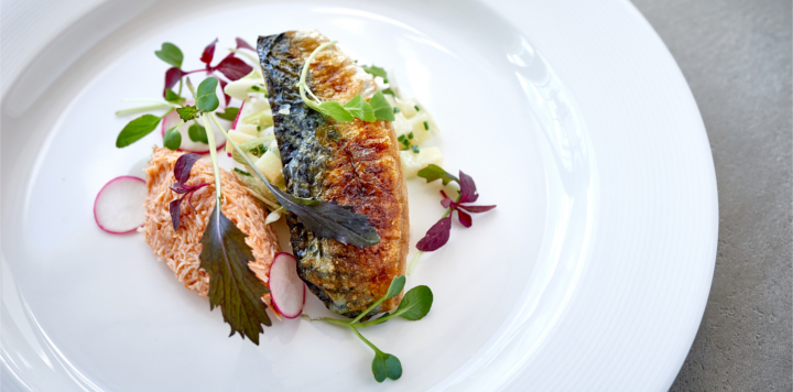 Grilled mackerel with Cornish crab and chive potato salad