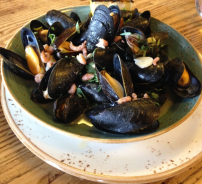 Mussels on a bed of sea vegetables