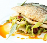 Mackerel with Spinach taglierini, confit squid and dulse.