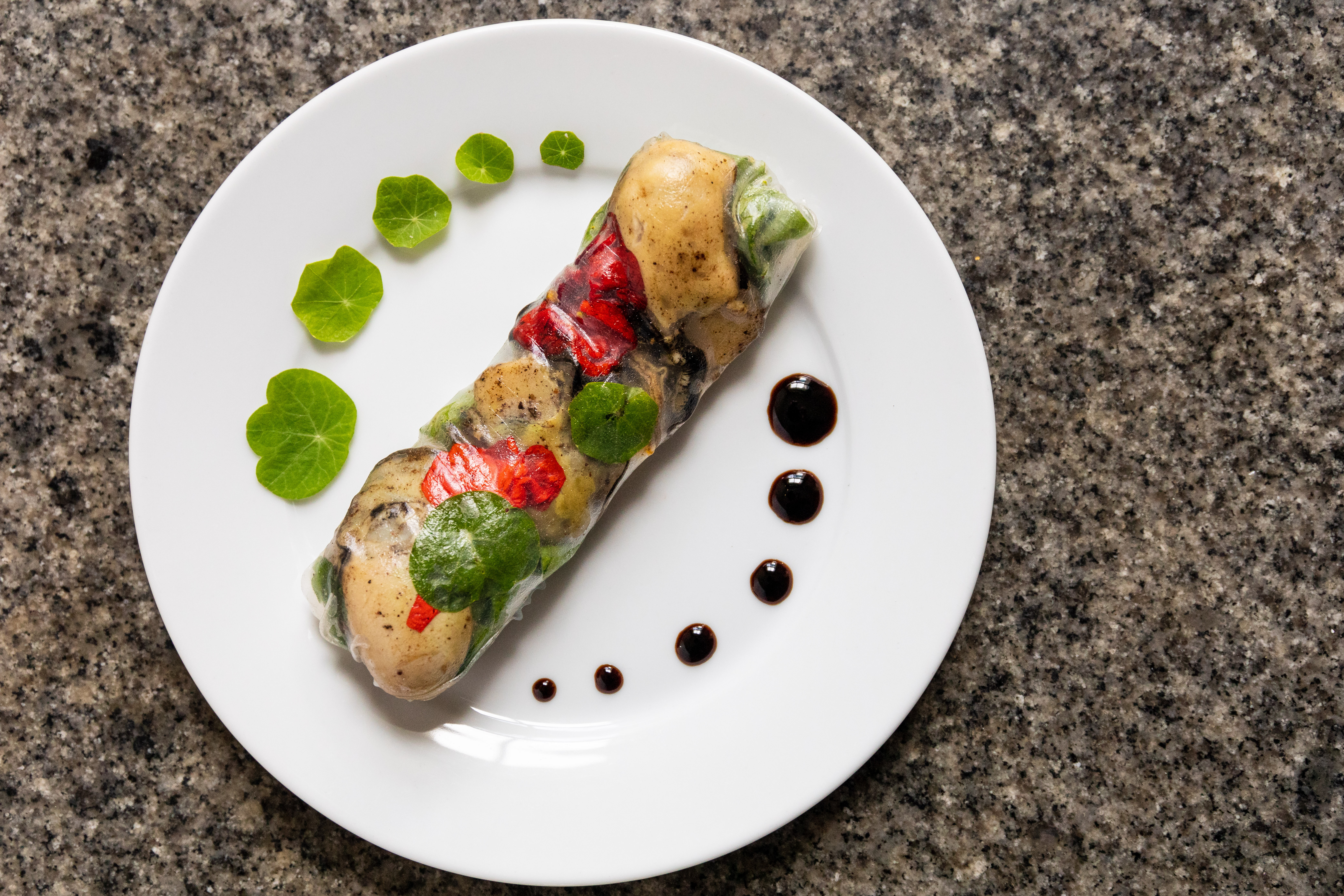 Poached Oyster Summer Roll by Katy a