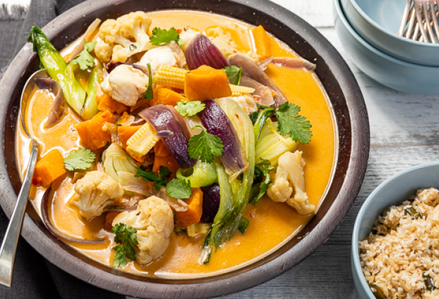 Thai style monkfish curry